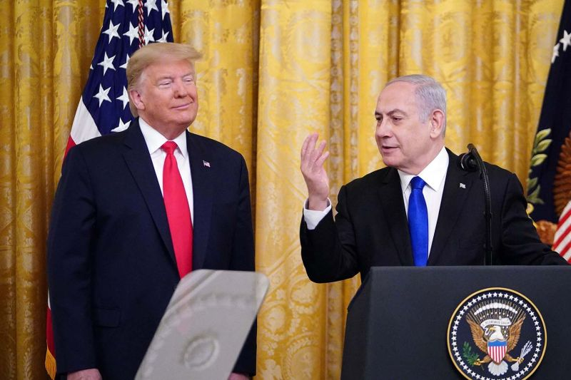 Israeli Prime Minister Benjamin Netanyahu speaks during an announcement of U.S. President Donald Trump's Middle East peace plan at the White House in Washington on Jan. 28.