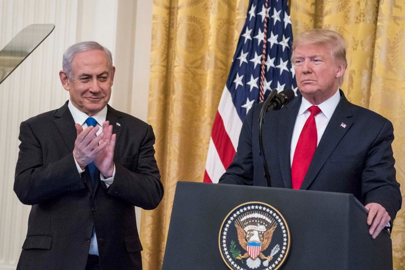 U.S. President Donald Trump and Israeli Prime Minister Benjamin Netanyahu participate in a joint statement in the East Room of the White House.