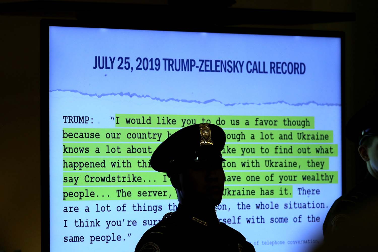 A transcript of a phone call between U.S. President Donald Trump and Ukrainian President Volodymyr Zelensky is displayed during testimony on Capitol Hill in Washington on Nov. 19, 2019.