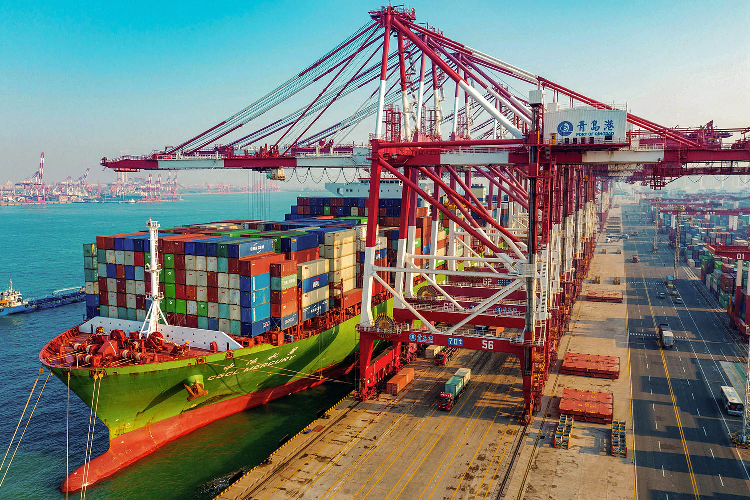 A cargo ship loaded with containers berths at a port in Qingdao in China's eastern Shandong province on Jan. 14.