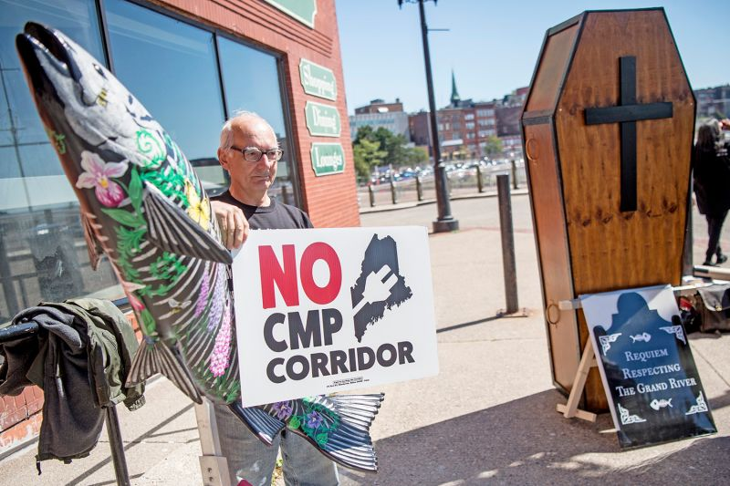 Eldred Davis protests the New England Clean Energy Connect corridor