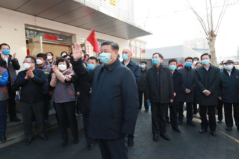 Chinese President Xi Jinping inspects prevention and control work against the new coronavirus in Beijing on Feb. 10.