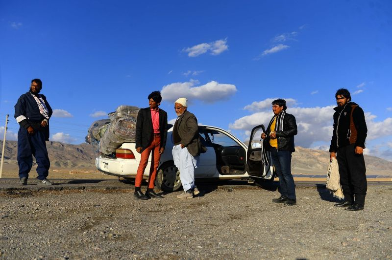Afghan returnees after arriving from Iran