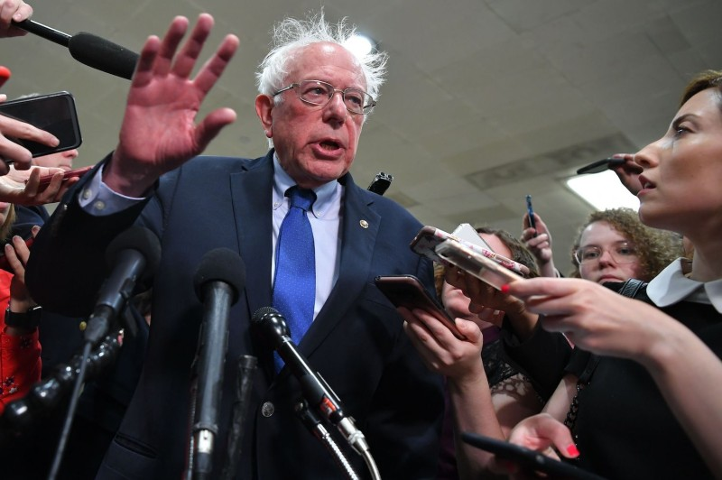Sen. Bernie Sanders speaks to the media following a closed-door briefing on Iran at the U.S. Capitol in Washington on May 21, 2019.