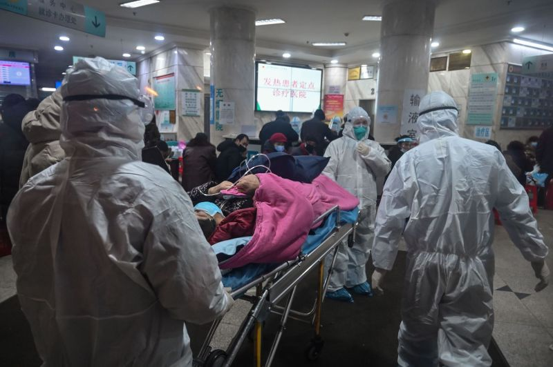 Doctors attend to patients hit by the coronavirus.