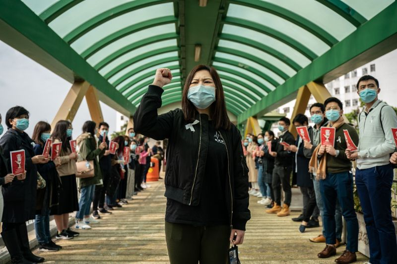 Medical workers hold a strike near Queen Mary Hospital to demand the government shut the city's border with China to reduce the spread of the coronavirus in Hong Kong on Feb. 3.