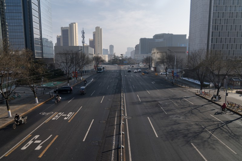 A view of Dongsi Shitiao crossroad in Beijing on Feb. 10. Many Chinese cities are nearly empty of cars and traffic in the wake of the virus outbreak.