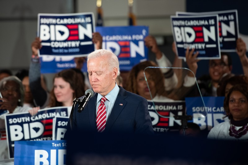 Democratic presidential candidate and former Vice President Joe Biden addresses the crowd during a campaign launch party in Columbia, South Carolina, on Feb. 11.