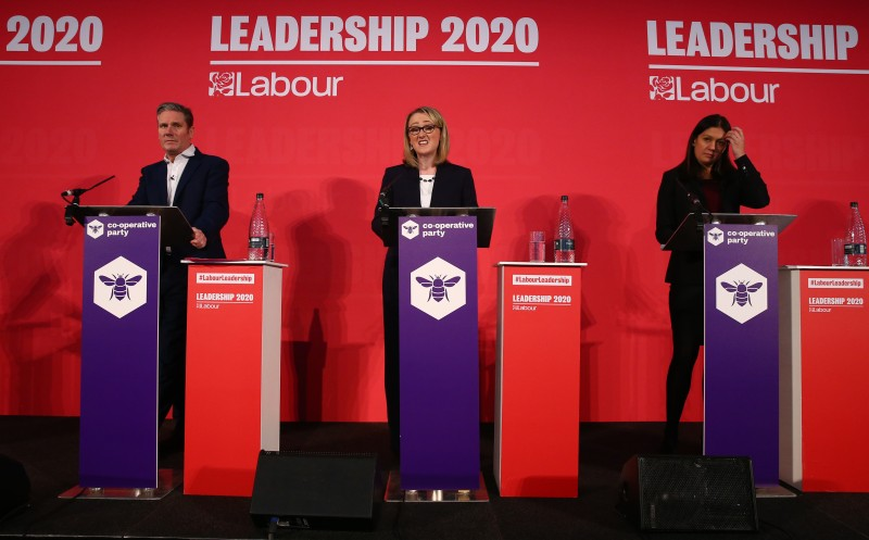 Keir Starmer, Rebecca Long-Bailey and Lisa Nandy speaking at a campaign event for Labour Leader and Deputy Leader on February 16, 2020 in London, England.