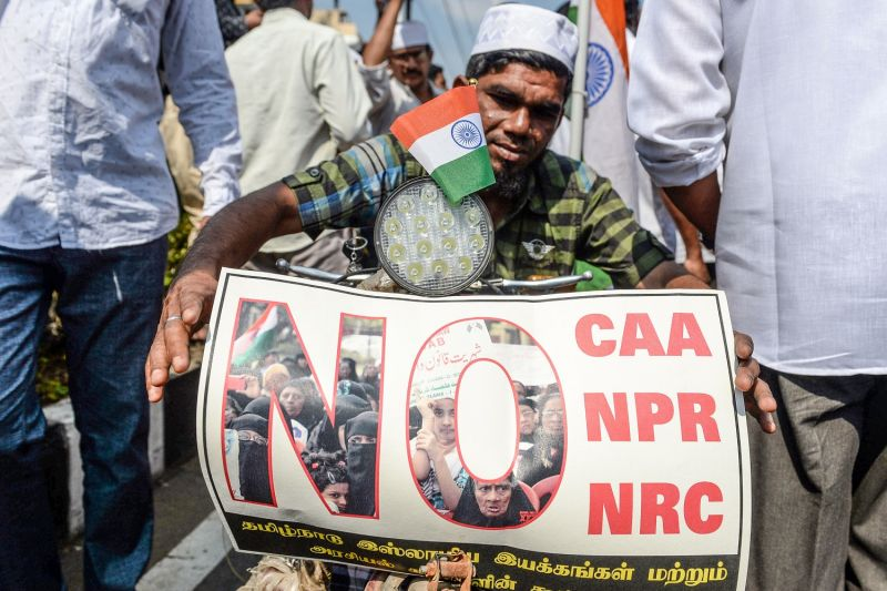A demonstrator against India's new citizenship law