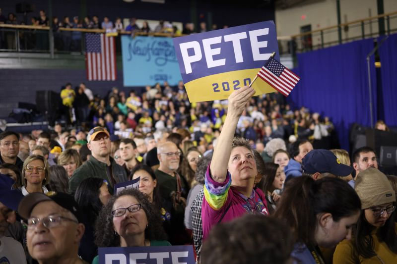 Supporters of Democratic presidential candidate Pete Buttigieg