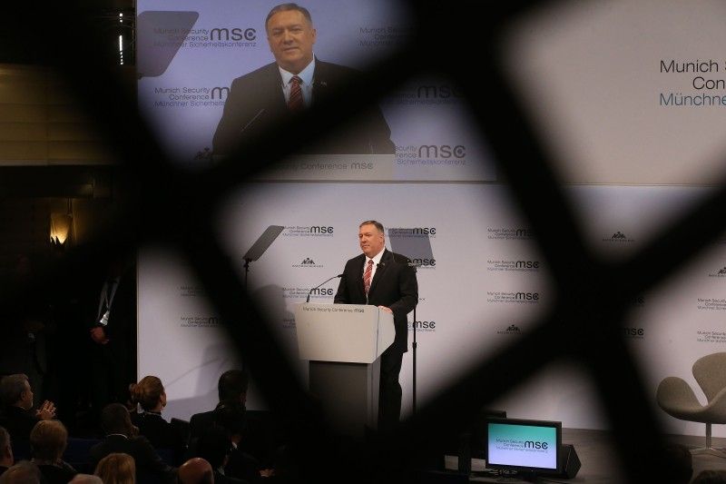 U.S. Secretary of State Mike Pompeo delivers a speech at the Munich Security Conference on Feb. 15.