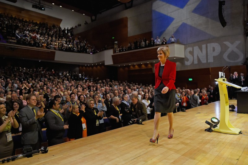 Scottish National Party leader Nicola Sturgeon acknowledges applause following a speech at the party's annual conference in Perth, Scotland, on Nov. 15, 2014.