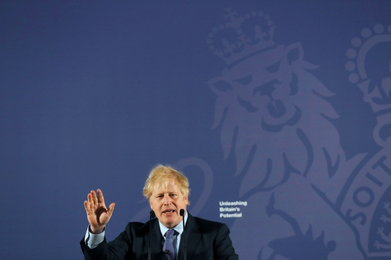 British Prime Minister Boris Johnson outlines his government's negotiating stance with the European Union after Brexit during a key speech at the Old Royal Naval College in London on Feb. 3.