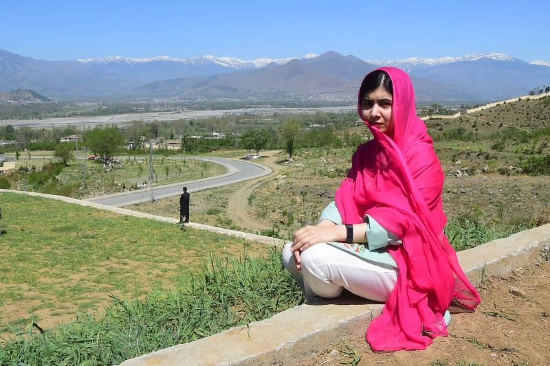 The Pakistani activist Malala Yousafzai poses for a photograph at the all-boys Cadet College Swat in Gulibagh, near Mingora, Pakistan, on March 31, 2018.