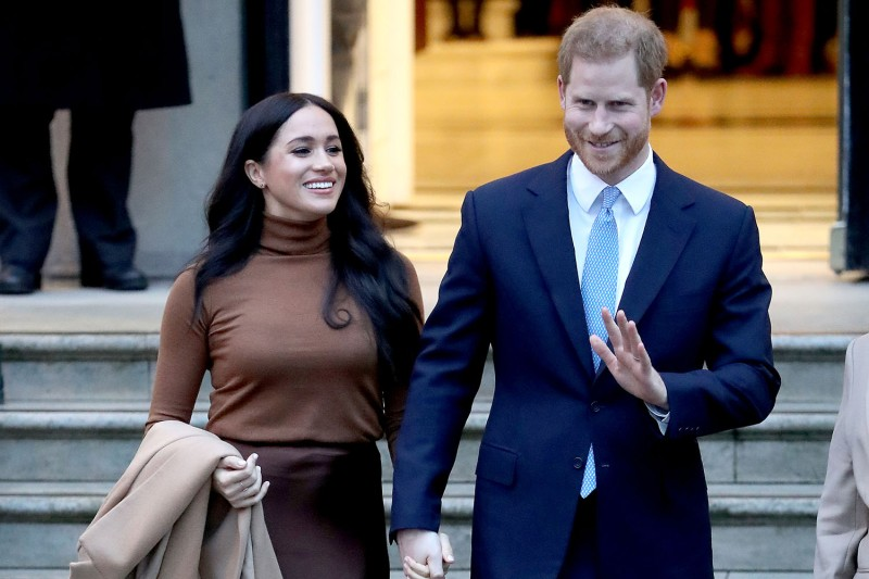Prince Harry and Meghan, the Duchess of Sussex, depart Canada House in London on Jan. 7.