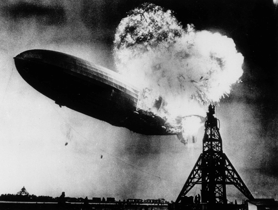The Hindenburg disaster in Lakehurst, New Jersey, on May 6, 1937.