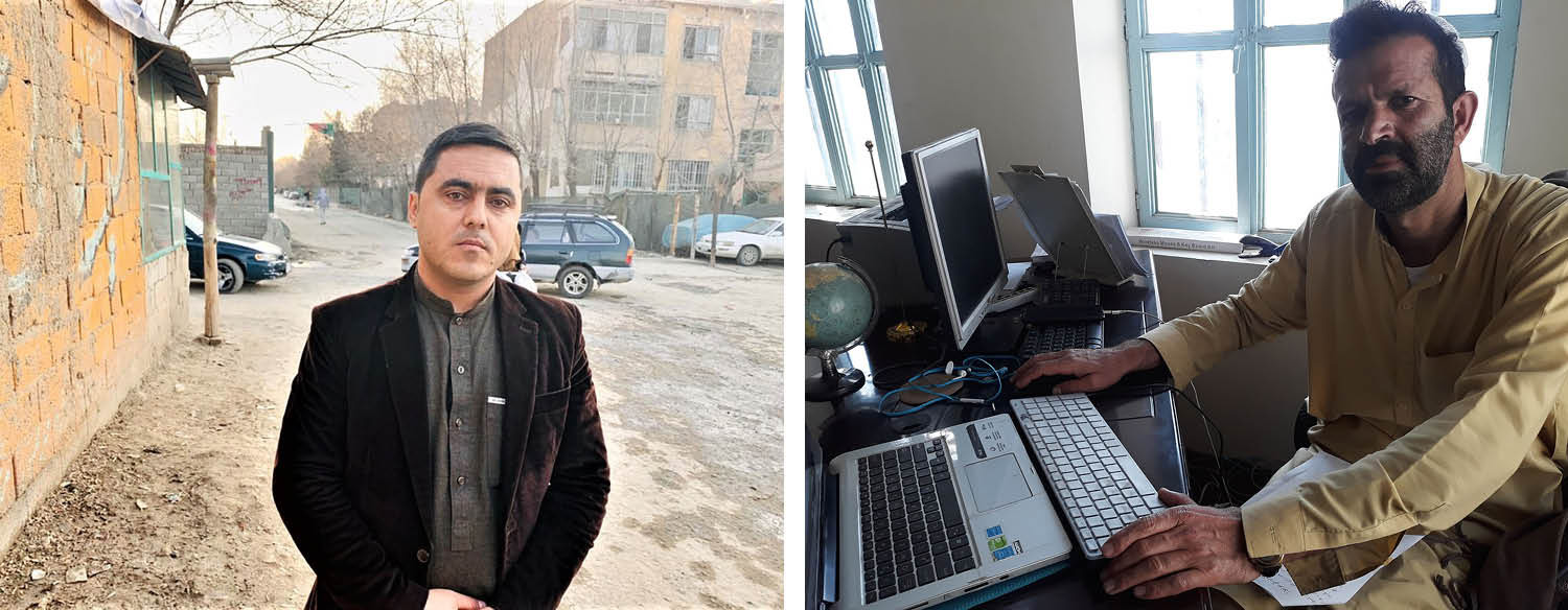 Left: Ahmad Fawad, a local government official, in Kabul on Feb. 23. Right: Mohammed Karim Afghan, a local activist, in Khost on Feb. 22.