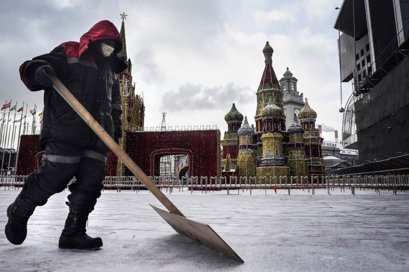 A municipal worker wearing a medical face mask in Moscow