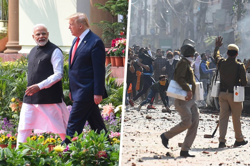Left: Indian Prime Minister Narendra Modi and U.S. President Donald Trump arrive at Hyderabad House in New Delhi on Feb. 25. Right: Police try to stop protesters during violent clashes between at Jaffarabad in New Delhi on Feb. 24.