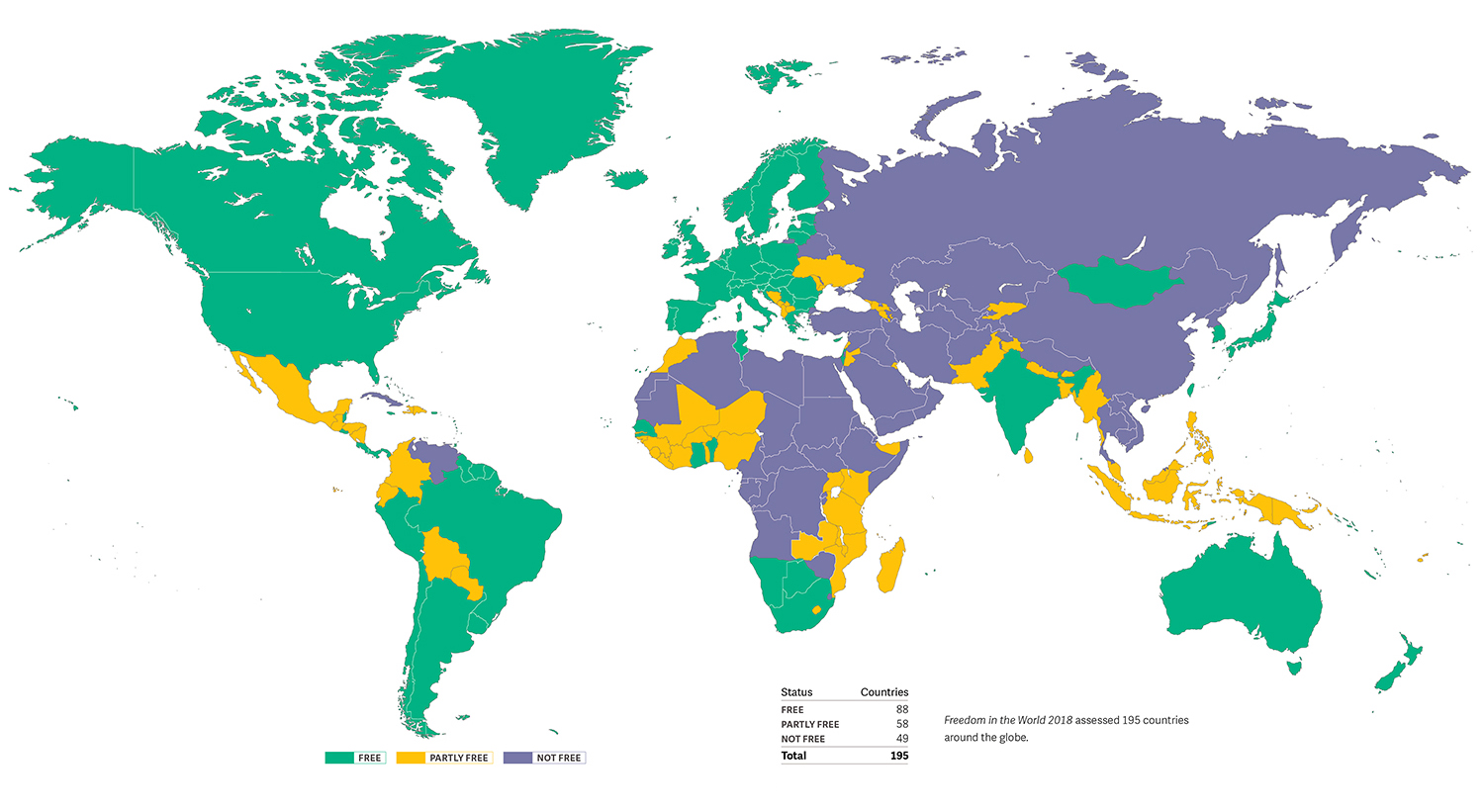 2018 Freedom in the World map