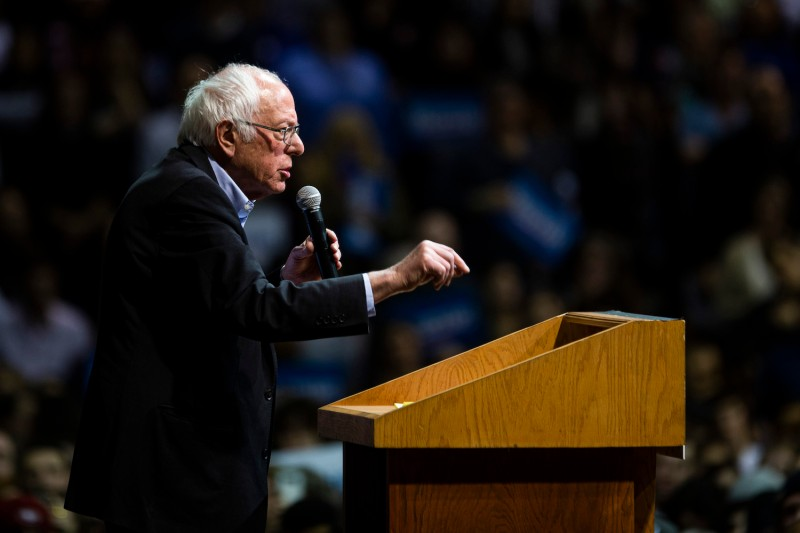 Bernie Sanders speaks during a rally.