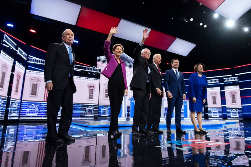 Candidates take part in the Democratic Presidential Debate in Las Vegas, Nevada, on Feb. 19. Caroline Brehman/CQ-Roll Call via Getty Images