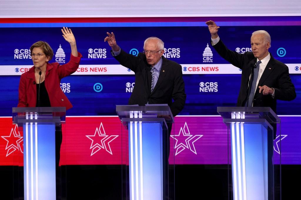 Democratic presidential candidates Elizabeth Warren, Bernie Sanders, and Joe Biden take part in the U.S. presidential primary debate in Charleston, S.C., on Feb. 25.