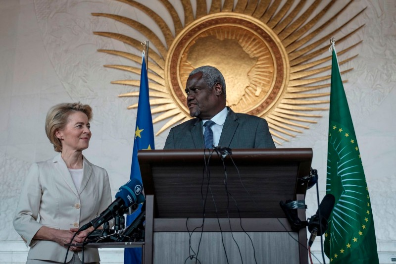 The Chairperson of the African Union, Moussa Faki Mahamat, speaking to the President of the European Commission, Ursula von der Leyen, during her visit to the African Union in Addis Ababa, Ethiopia, on Dec. 7, 2019.