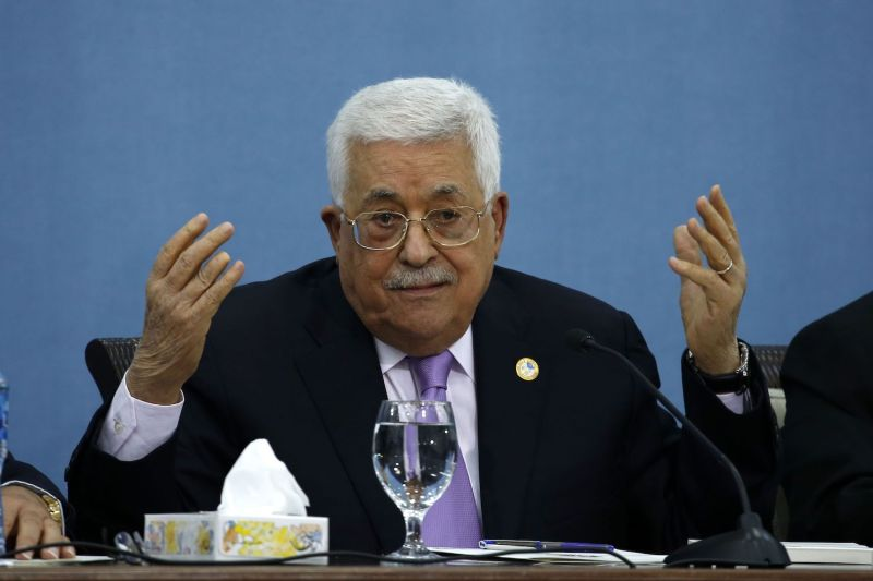 Palestinian President Mahmoud Abbas speaks during a meeting with journalists in the Palestinian Authority headquarters in Ramallah on July 3, 2019.