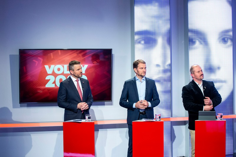 Slovak Prime Minister Peter Pellegrini, the Ordinary People party leader Igor Matovic, and the far-right People's Party-Our Slovakia leader Marian Kotleba await the start of the parliamentary election TV debate in Bratislava, Slovakia, on Feb. 20.