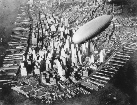 The USS Akron over New York City in the early 1930s.
