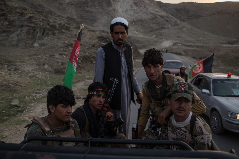Local militia members in Nangarhar's Achin district