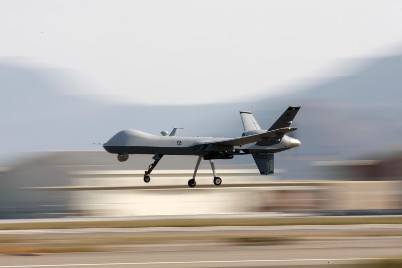 A Reaper drone used for missions in Afghanistan is seen in Nevada in 2009.