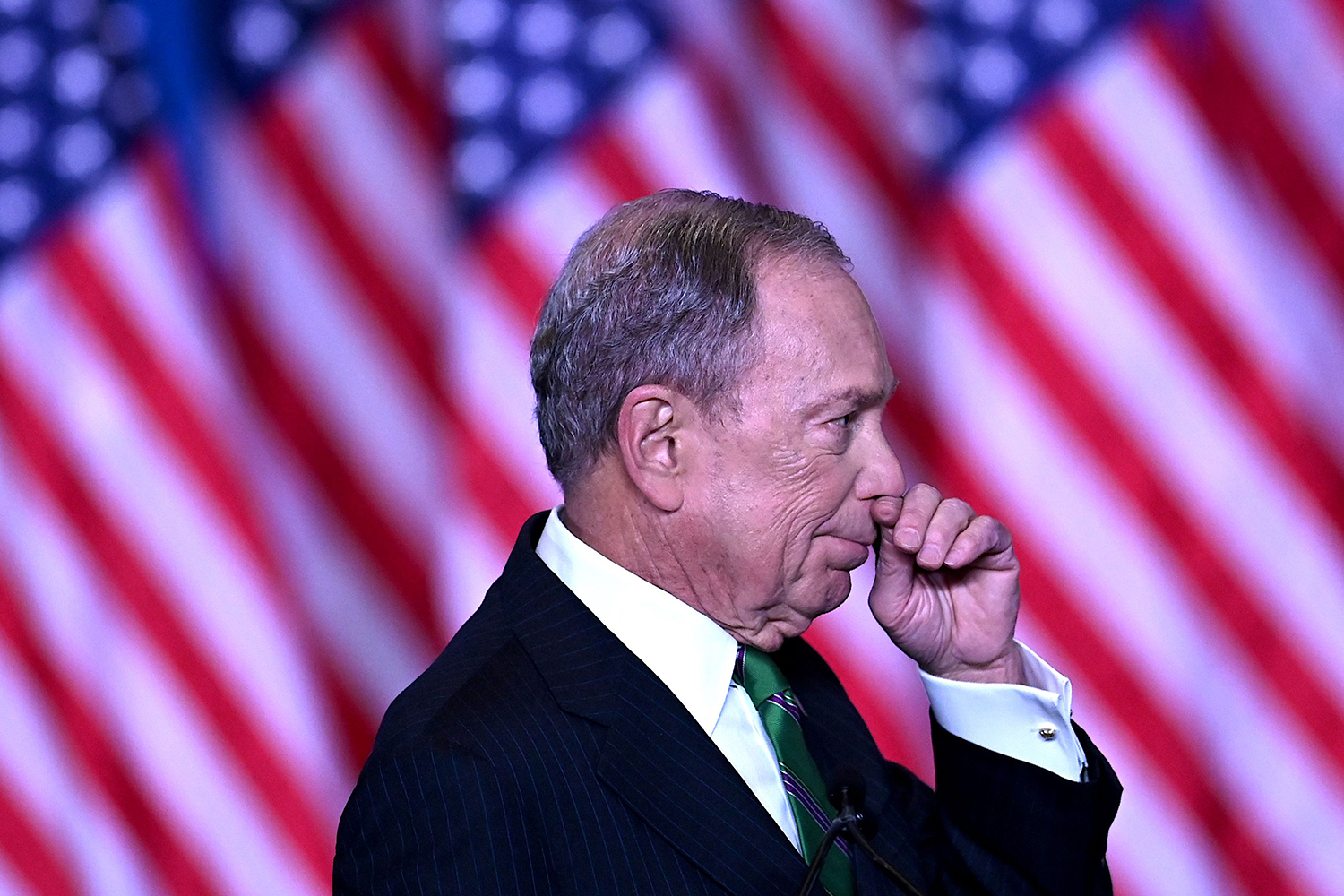 Former New York City Mayor Mike Bloomberg speaks to supporters and staff March 4 in New York City as he ends his candidacy for U.S. president. JOHANNES EISELE/AFP via Getty Images