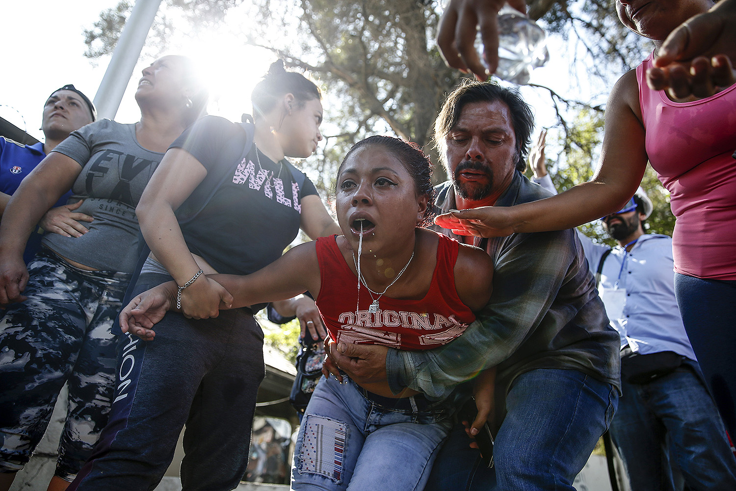 Relatives react outside Santiago 1 prison after a large number of inmates attempted to escape amid panic over the spread of the coronavirus in Santiago, Chile, on March 19. JAVIER TORRES/AFP via Getty Images
