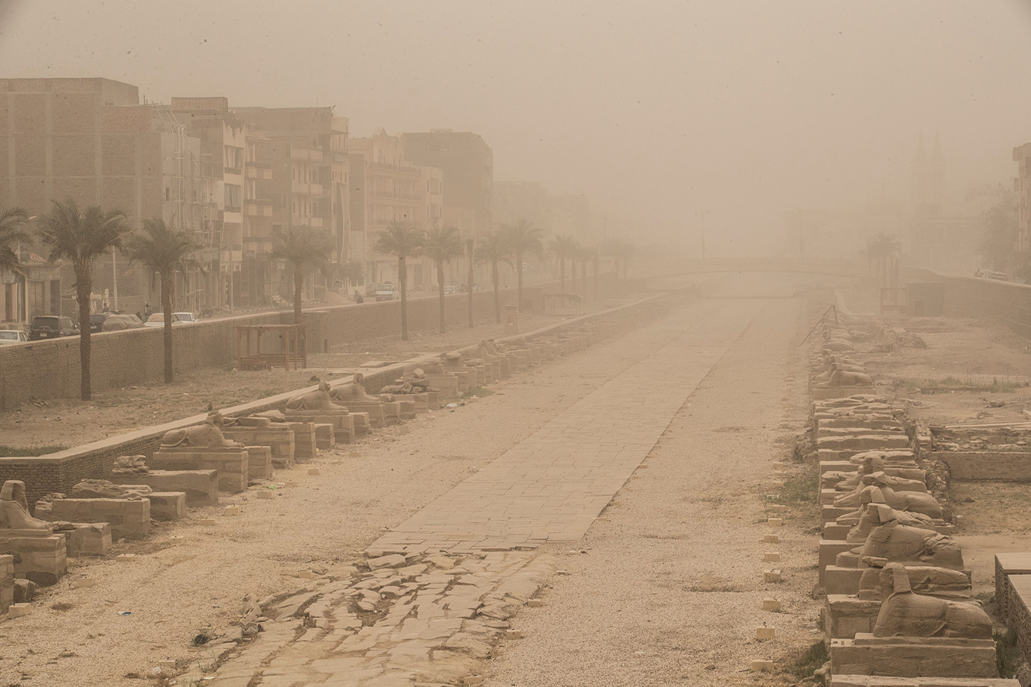 The Avenue of Sphinxes is pictured during a sandstorm at the Karnak complex in Egypt's southern city of Luxor on March 12. KHALED DESOUKI/AFP via Getty Images