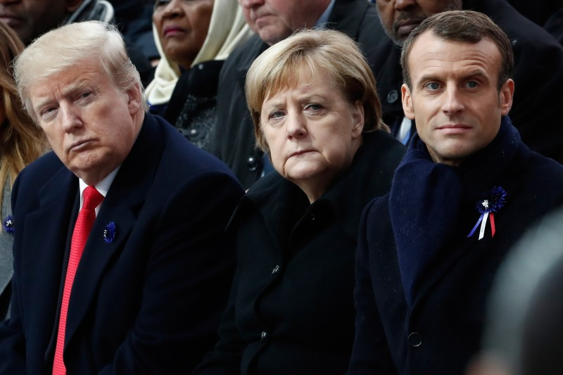 U.S. President Donald Trump, German Chancellor Angela Merkel, and French President Emmanuel Macron