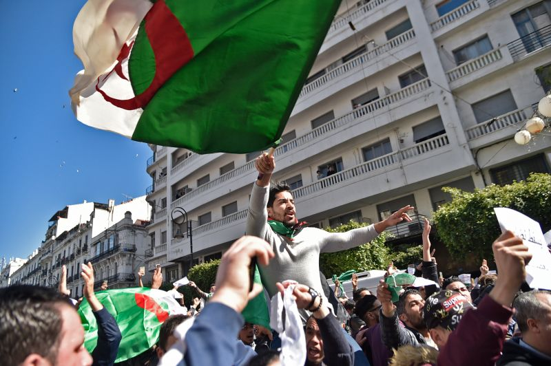 Algerians protest against former President Abdelaziz Bouteflika's bid for a fifth term in power, in Algiers on Mar. 1, 2019.