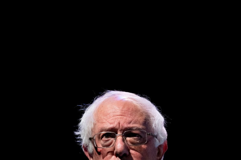 "Sen. Bernie Sanders, a 2020 U.S. presidential candidate, speaks during the ""We The People"" Summit at the Warner Theater in Washington on April 1, 2019."
