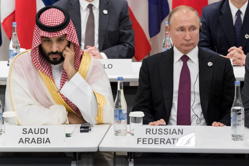 Saudi Crown Prince Mohammed bin Salman, left, and Russian President Vladimir Putin