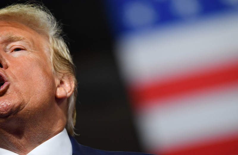 U.S. President Donald Trump speaks at a rally in Manchester, New Hampshire, on Aug. 15, 2019.