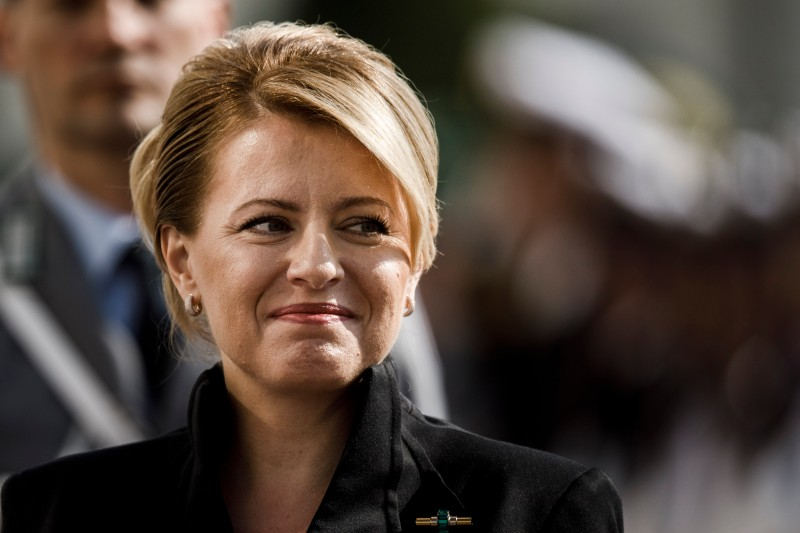 Slovak President Zuzana Caputova arrives for a welcome ceremony by German President Frank-Walter Steinmeier at Schloss Bellevue in Berlin on Aug. 21, 2019.
