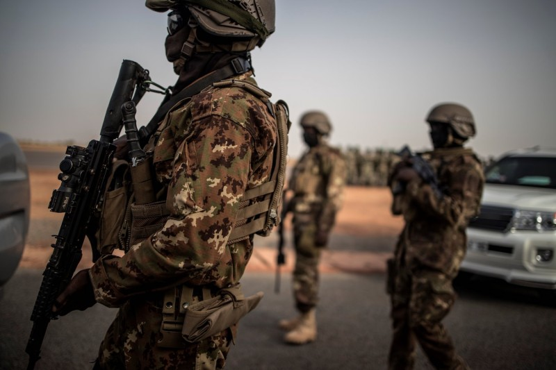 Malian special forces stand watch.