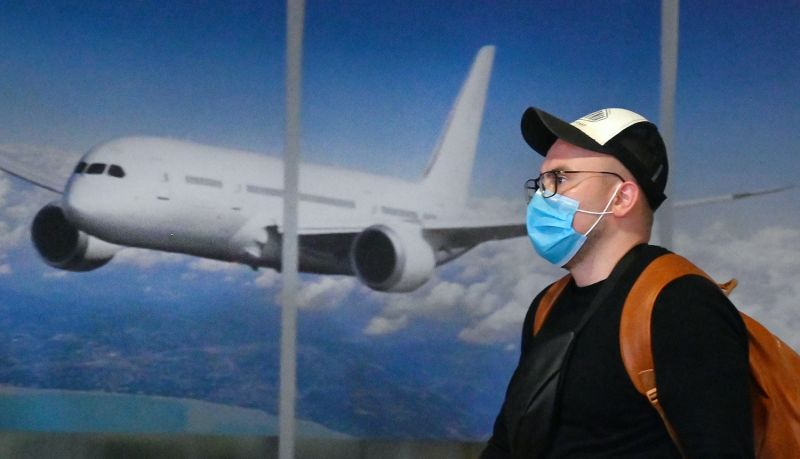 A tourist walks in the airport in Kyiv, Ukraine amid coronavirus fears.