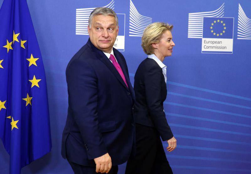European Commission President Ursula von der Leyen welcomes Hungary's Prime Minister Viktor Orban