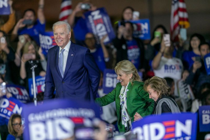Joe Biden takes the stage at a campaign event in Los Angeles.