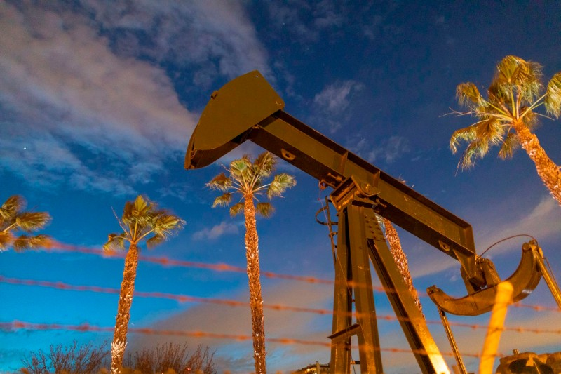 Pump jacks draw crude oil in California