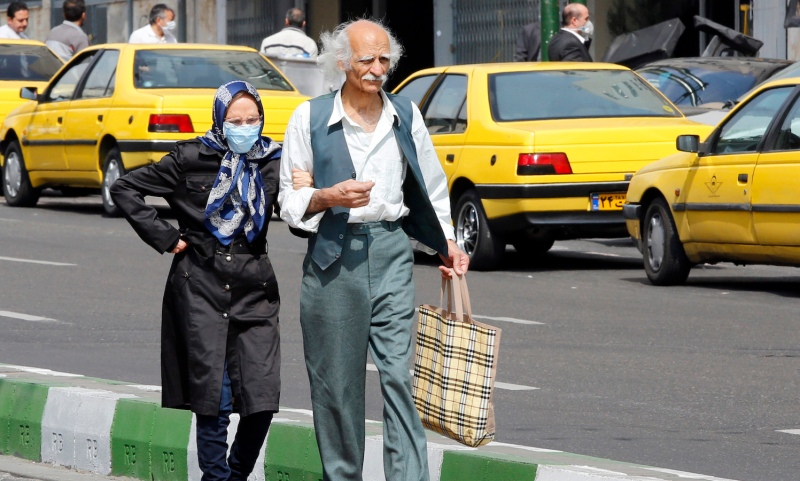 A woman wearing a mask in Iran