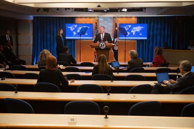 US Secretary of State Mike Pompeo speaks at a press conference with limited numbers of journalists due to the coronavirus outbreak, at the State Department in Washington DC, on March 17, 2020.